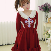Princess sweet lolita dress Exclusive Halloween cross Counter attack angel Doll brought knitting dress,cosplay,costume