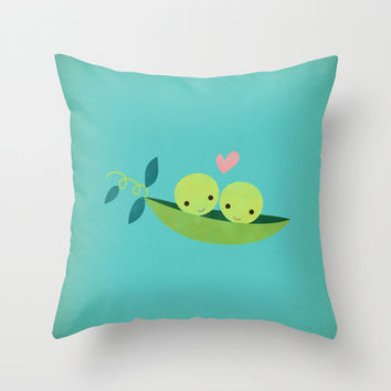 Two Peas in a Pod Throw Pillow by Rosy Designs