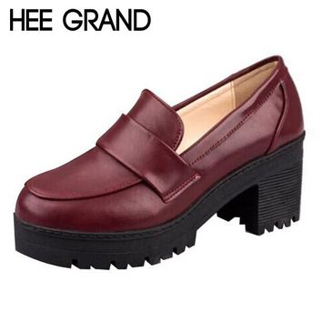 HEE GRAND Solid Color Leather Women's Square Heel Ladies Pumps All-match Oxford Shoes WXG197