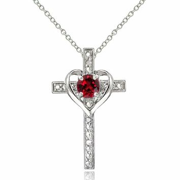 925 Sterling Silver Created Ruby & Diamond Accent Cross Heart Necklace