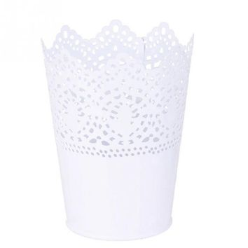 Metal Lace Hollow Out Pot Makeup Brush Holder Flower Vase Plant Pot Stationery Pen Container for Home Office Decoration