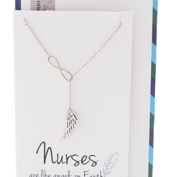 Manuela Infinity Lariat Angel Wing Necklace, Gifts for Nurses