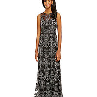 Vera Wang Medallion Column Gown - Black/Ivory