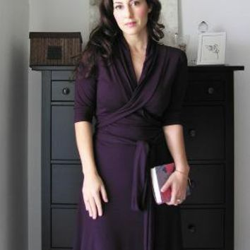 Wrap Dress With Shawl Collar Cap Short or Long Sleeved by Lirola