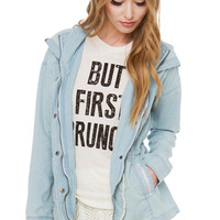 In The Hood Light Wash Denim Jacket
