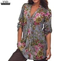 Plus Size S-6XL Womens Vintage Floral Print V-neck Tunic Tops