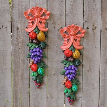 Shabby Chic Wall Decor, Syroco Wood, Coral, Fruit, Vintage, Upcycled, Hand Painted