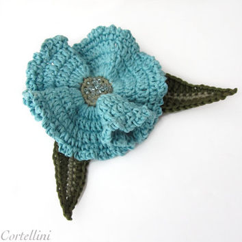 Brooch, pin, flower, crochet, fiber, cotton yarn, aqua, green, seed glass beads, retro, romantic, 3D, autumn, fall, Vegan