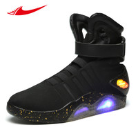 2017 Back To The Future glowing sneakers Soldier Shoes Brand boots Limited Edition Led Luminous Light Up Men Skateboarding