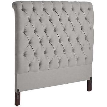 Audrey II Upholstered Pewter Headboard