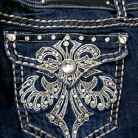 LA Idol Women Plus Bootcut Jeans Crystal Fleur De Lis Stretch in Dark Blue