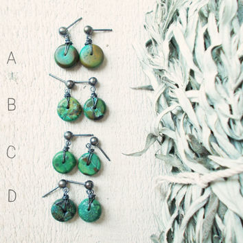 CHOOSE your pair, Hubei turquoise sterling silver post earrings, small dangle studs, genuine stabilized stone discs, oxidized, bohemian