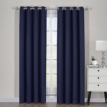 Navy 54x84 Ava Blackout Weave Curtain Panels With Tie Backs Pair (Set Of 2)