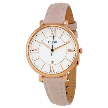 Fossil Womens ES3988 Gold Case with Pink Leather Band Watch