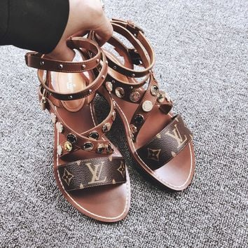 Louis Vuitton LV Leather Sandal Flat Shoes