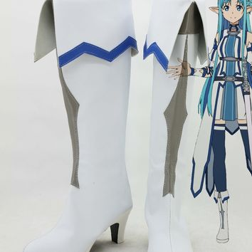 Sword Art Online Yuuki Asuna Cosplay Boots Anime Shoes Excalibur Version