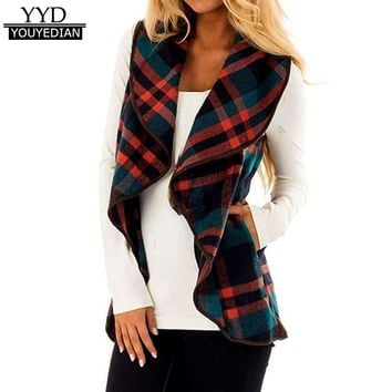 New Arrival Womens Lapel Open Front Women Cardigans Coat Sleeveless Plaid Vest Cardigan Pockets Kimono Cardigan Women Tops *1104