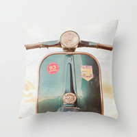 The Blue Vespa Throw Pillow by Hello Twiggs