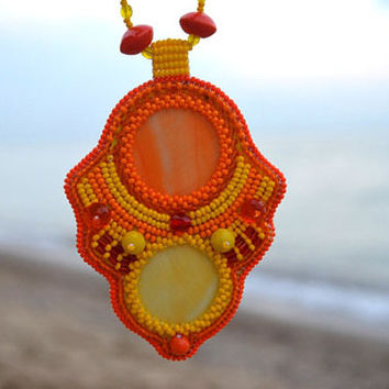 Bead Embroidered Orange Yellow Pendant Necklace Embroidery Beadwork Seed Beaded