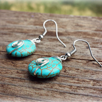 Wire wrapped turquoise earrings handmade semi precious boho southwestern gypsy silver plated unique spiral minimalist