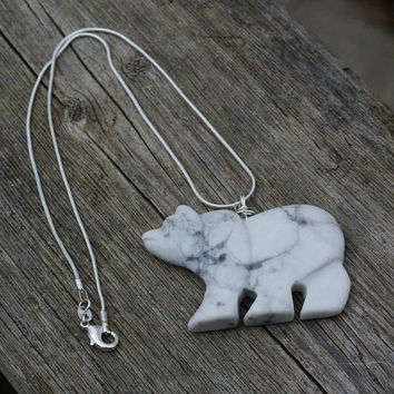 White Howlite Bear Necklace ~ Carved Polar Bear Pendant ~ Walking Bear ~ Stone Jewellery ~ Animal Lover Gift ~ Snowy Bear ~ Graduation Gift