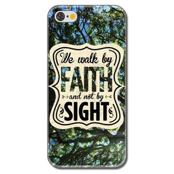 """""""We Walk By Faith And Not By Sight"""" Poetry Colorful Painted Rigid Plastic Hard Phone Protector Cover Case Shell for iPhone 6 Plus 6s Plus"""