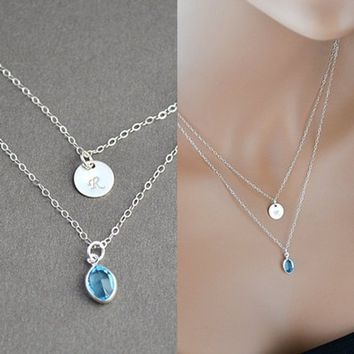 Silver Layered Necklace, Initial Disc Necklace, Layering Necklace, Aquamarine Swarovski Crystal, Personalized, Sterling Silver
