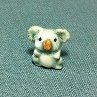 Miniature Ceramic Koala Bear Mini Baby Australia Animal Cute Little Tiny Small Grey White Figurine Statue Decoration Hand Painted Craft