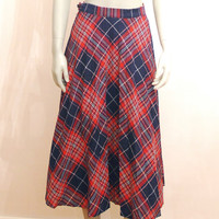 Vertical Tartan Skirt, Vintage Checked Skirt, Red And Blue Pleated A-line Midi Length Knee Height School Girl Skirt