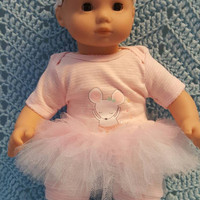 "Baby Doll Clothes ""Ballerina Mouse"" (15 inch) doll outfit Will fit Bitty Baby® Bitty Twins®  dress shorts socks headband B7"