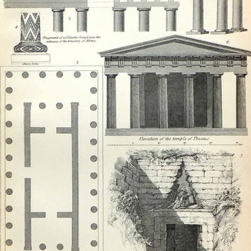 Antique Architecture Print, Vintage Book Plate, 19th Century Black and White Picture, Buildings, Athens