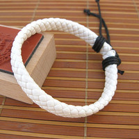 White Leather Cotton Ropes Woven Men Leather Jewelry Bangle Cuff Bracelet Women Leather Bracelet  804A-W