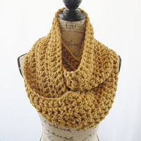 Ready To Ship Honey Brown Infinity Crochet Scarf Cowl Loop Circle Accessory
