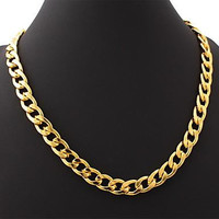 Free shipping fashion simple 316L stainless steel plated 18k gold thick chain necklace for men SP00807