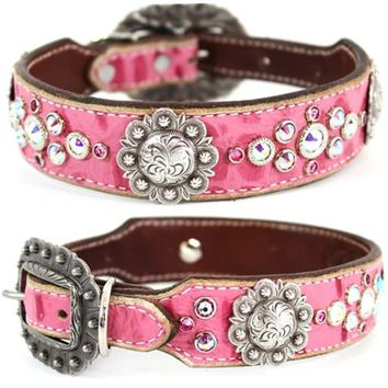 Western Pink Leather Dog Collar | Stella