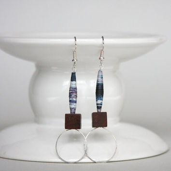Wire Earring, Recycled Paper Bead Jewelry, Monaco Blue with Brown on Sterling Silver, Small Hoop Light Weight Earrings, Eco Friendly Dangles