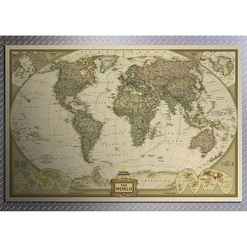 World Maps Wallpaper Large Retro Kraft Paper Paint Vintage Wall Sticker Art Crafts Maps 72*47cm & 104*69cm
