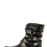 Coconuts Tyler Black Belted Motorcycle Boots
