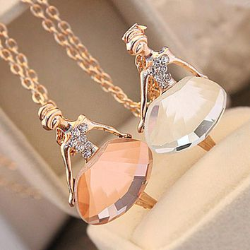 N537 Fashion Ballet Dancing Girl Full of Imitation Crystal Necklace Sweater Chain  Fashion Jewelry Women Accessories