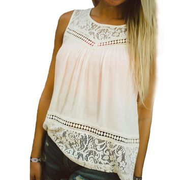 Casual Women's Summer Lace Splice Vest Top Sleeveless Tank Top Shirt