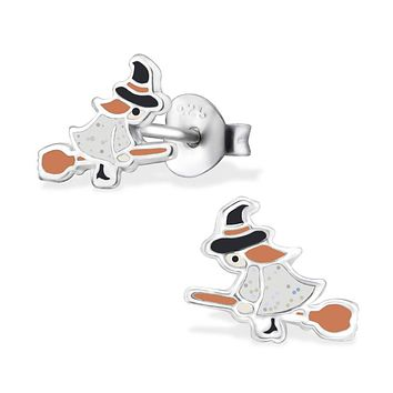 Genuine 925 Sterling Silver Black, Orange, White Witch with Broom Earrings Ear Stud