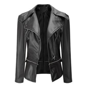1PC Fashion Vintage Women Biker Motorcycle Leather Zipper Jacket Coat