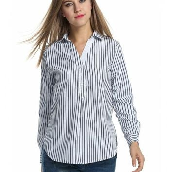 Black Women's Stripes Roll Up Sleeve High-Low Hem Casual Loose Shirt