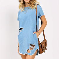 Chambray Distressed Shift Dress