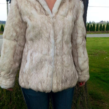 Real Fur Coat  /   White fur jacket  /  Genuine Rabbit fur outerwear  //  Women's Fur Outerwear  /  Cheapvintagefashion
