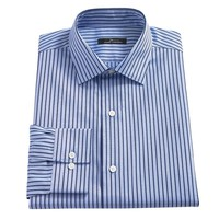 Marc Anthony Slim-Fit Striped Spread-Collar Dress Shirt - Men, Size: