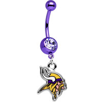 Officially Licensed NFL Clear Gem Minnesota Vikings Dangle Belly Ring