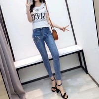 Gucci Women Casual Fashion Beading Diamond Letter Short Sleeve T-shirt Jeans Trousers Set Two-Piece
