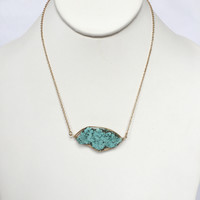 Rock It In Wire Turquoise Necklace