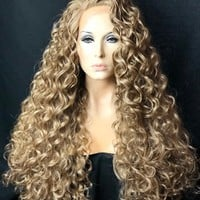 Golden Blonde Curly Lace Front Wig, 4x4 Multi Part Wig